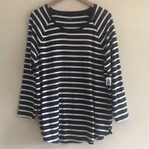 Tops - NWT Old Navy Long Sleeve Stripe Blouse Size XL